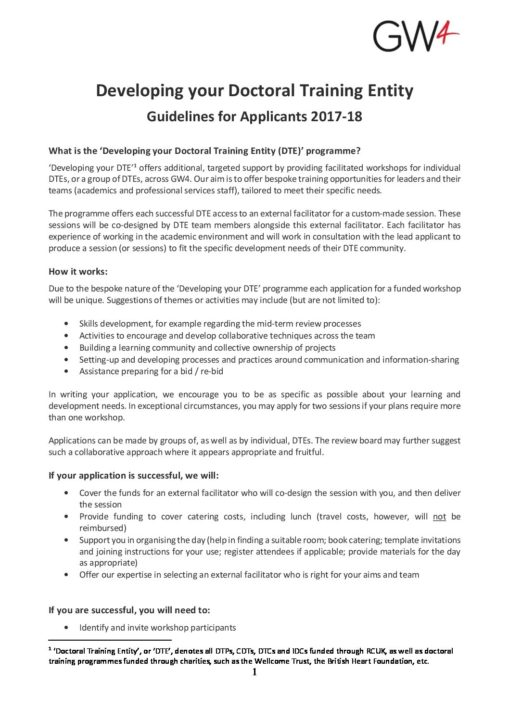 application guidelines - GW4